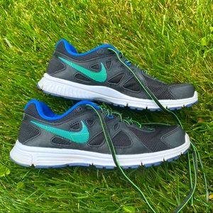 Nike Revolution Black Green Blue Running Sneakers
